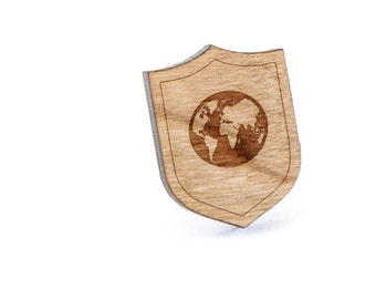 Earth Lapel Pin, Wooden Pin, Wooden Lapel, Gift For Him or Her, Wedding Gifts, Groomsman Gifts, and Personalized