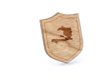 Haiti Lapel Pin, Wooden Pin, Wooden Lapel, Gift For Him or Her, Wedding Gifts, Groomsman Gifts, and Personalized