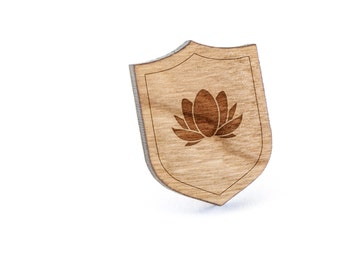 Lotus Lapel Pin, Wooden Pin, Wooden Lapel, Gift For Him or Her, Wedding Gifts, Groomsman Gifts, and Personalized