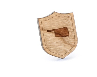 Oklahoma Lapel Pin, Wooden Pin, Wooden Lapel, Gift For Him or Her, Wedding Gifts, Groomsman Gifts, and Personalized