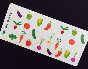 Mini VEGGIE Strips-Vegetables- Stickers-Removable-Perfect for Your Planner-Agenda-LV-Filofax-Gillio-Eric Condren
