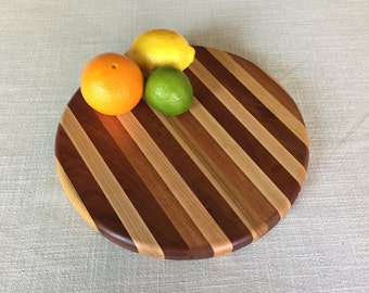 Round butcher block cutting board