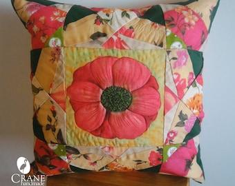 "Patchwork cushion ""Floral Kaleidoscope""/pink peony/Orange Chrysanthemums/beadword/home decor/interior cushion/quilting cushion/wildflowers"