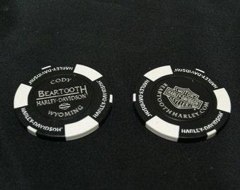 Harley-Davidson Black & White Poker Chip set of 2