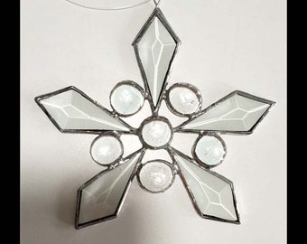 Snowflake #1 - Beveled glass & nugget Suncatcher