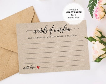 Words of Wisdom Card, DIY Wedding Advice Printable Card, Bridal Shower, Editable Text, Instant Download, PDF Template, Digital Download