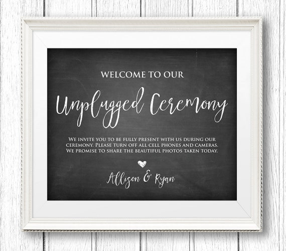 Unplugged Wedding Sign, Unplugged Ceremony, Instant Download, Editable Text, Rustic Chalkboard Printable Sign, PDF Template, Digital #CH10
