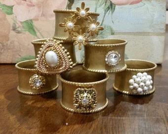 Custom Napkin Rings- Handmade with Broaches, Made to Order