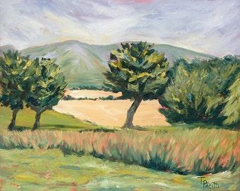 Stock clearance Pentlands, Edinburgh, Pentland Hills, Mortonhall, trees, fields, green, bright, colourful, oil painting, art, Scotland,
