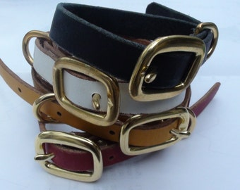 Leather Puppy Collar with brass fittings