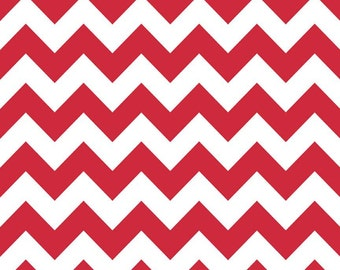 Riley Blake, Medium Chevron, Red and White, fabric by the yard