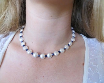 Swarovski Crystal Pearl Necklace with Cobalt Beads, SN-72.