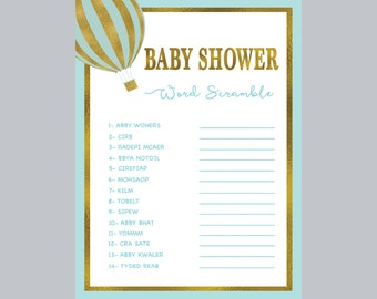 balloon word scramble game blue baby shower game baby shower games
