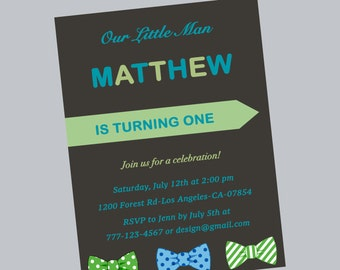 1st birthday invitation,bow ties invite,first birthday,one,blue and green,birthday party,bow ties invitation,bow ties,printable,digital file