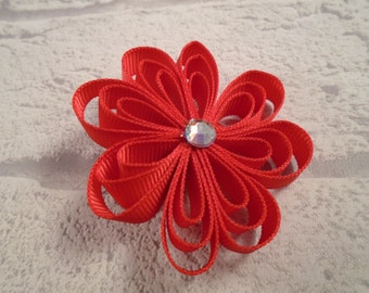 Handmade Loopy flower clip, hair accessory, hair clip