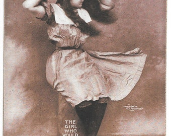 Vintage Postcard, The Girl Who Would a Sailing Go, Sheahan, circa 1908