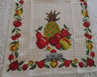 Vintage Parisian Print Tea Towel Unused With Tag, Retro Tea Towel, Parisian Print Towel, Tea Towels, Vintage Tea Towel