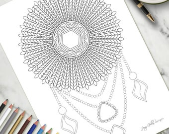 Adult Colouring Page Feathers and Gems