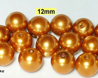 15 glass beads, pearl beads 12 mm gold (812.22)