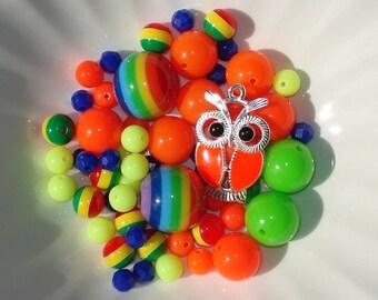 Bead Kit DIY Bubblegum Chunky Striped Beads Rainbow Orange Enamel Owl Charm