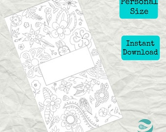 Filofax Personal Refill - Personal Planner Divider - Instant Download - Agenda Page to Color to Personalize - Floral Pattern - Kikki K