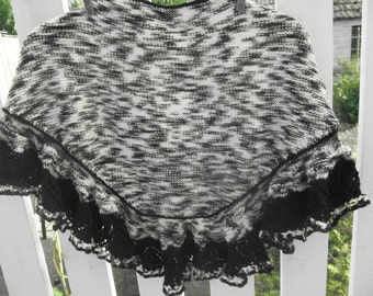 Black and white shawl with black trim lace pattern