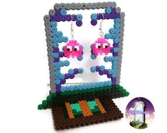 Earrings Pinky Pacman Ghost Video Games [Pixel Art Hama Beads]