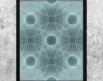 Abstract Art Print, Teal Art, Geometric Line Art, Modern Art Print, Minimalist, Digital Wall Art, Dorm Decor, Instant Download Printable Art