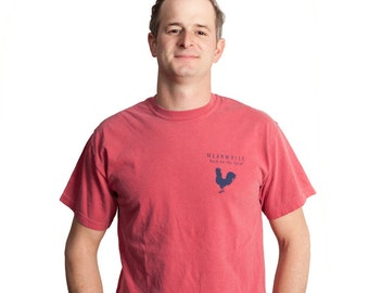Meanwhile Back on the Farm Rooster Logo Nantucket Red Tee