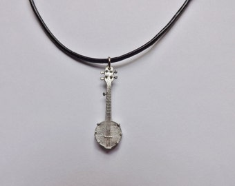 Banjo Charm Necklace silver pewter leather or chain USA-made lead-free: