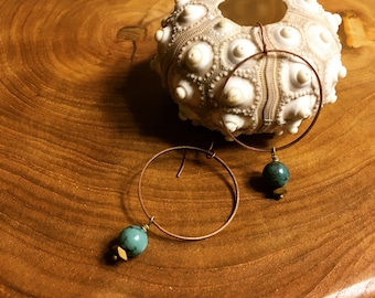 Turquoise Spheres on Copper Hoops
