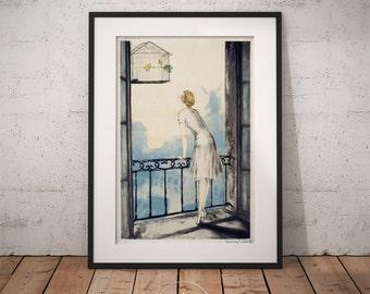 Louis Icart - Montmartre, Louis Icart print,  Art deco, Wall Art, Framed print, PP020