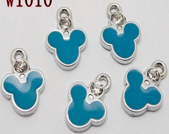 10pcs enamel zircon mickey charms/pendants w1010