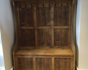 Rustic Monks Bench High Back with Coat Hooks