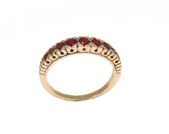 Garnet Ring, 14K Gold Gemstone Ring, Vintage Garnet Ring, 14K Solid Rose Gold Ring, Vintage Ring, Eternity Ring, January Birthstone