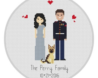 Family portrait Decoration or gift Custom made 3 characters PDF Custom Cotton Anniversary Gift 2 Anniverary gift Cross Stitch X148