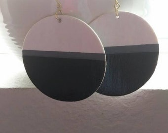 Minimalist black earrings,color block earrings,natural hair jewelry, Gray statement earrings, Multi color statement earrings,white earrings