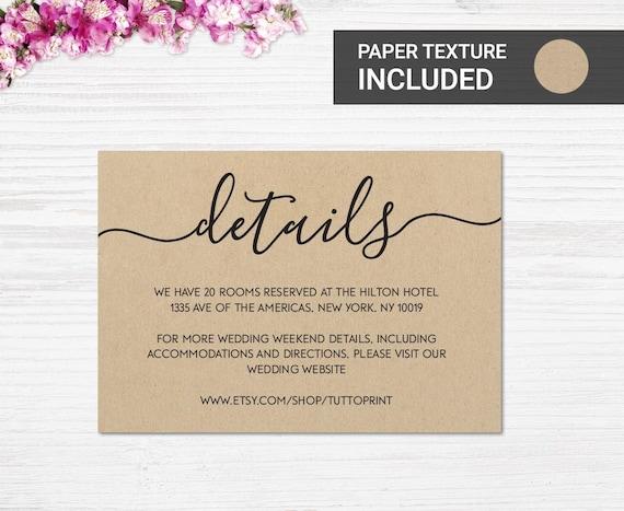 Wedding Details Printable Card On Kraft Paper Background