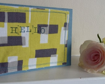 hello stitched greeting card