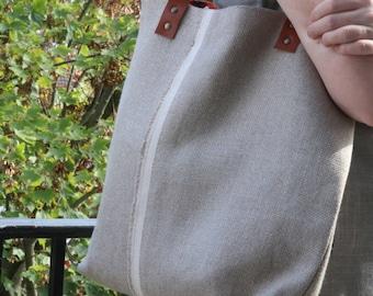Tote bag in linen/big bag/linen tote/bag Tote/shopping bag