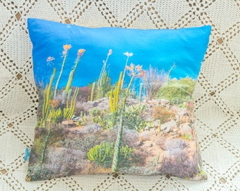 Decorative pillow with a photo design - Cactus (removable pillow cover and insert included)