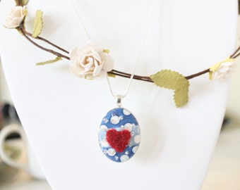 Warm and Fuzzy Heart Embroidered Pendant