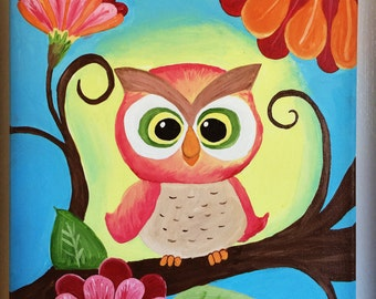 Baby Owl Painting