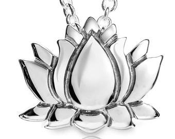 925 Sterling Silver Cute Lotus Flower Pendant