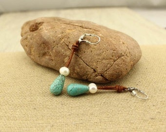 Turquoise drop pearl leather cord clip on earrings, pearl earrings dangle, turquoise drop earrings, pearl leather earrings, E 116