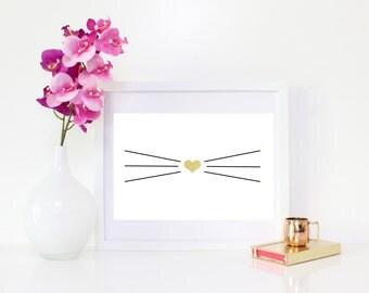 DIGITAL DOWNLOAD, Cat, Whiskers, Cat lover, Whiskers art, Cat art