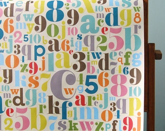 Wrapping Paper and Ribbon Set for Birthdays, Special Occasions - Fancy Letters & Numbers