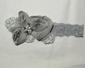 Grey Imperial Lace Chiffon Flower  Baby Girl Headband