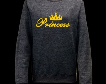 Princess Sweatshirt colour gold crown cute language English