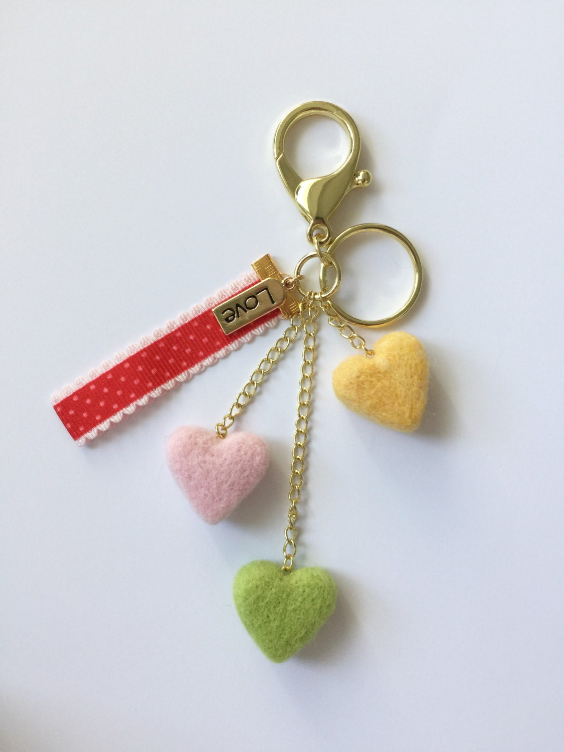 Heart Bag Dangle Needle Felted Hearts Love Bag Charm Keychains